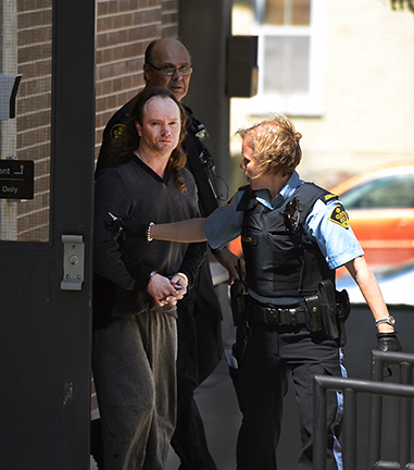 Anthony Ringel May 15, 2013 leaving a bail hearing in Walkerton, Ontario (photo by David Ridgen)