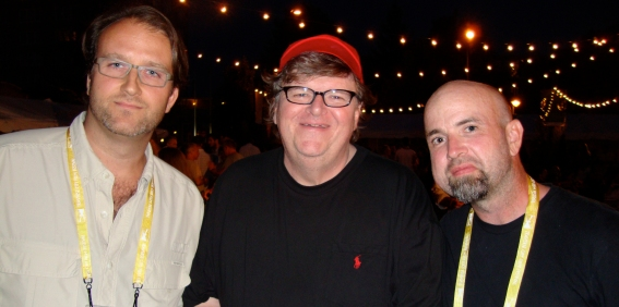 David Ridgen with Michael Moore and Nic Rossier at Traverse City Film Fest 2010.